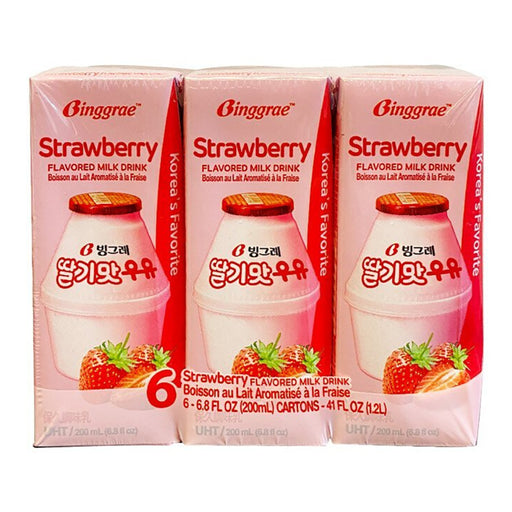 Binggrae Milk Drink Strawberry Flavor 6 Pack Image 1