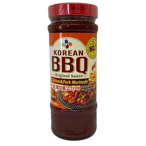 CJ Korean Bbq Sauce Chicken & Pork Marinade Pear & Apple - Hot & Spicy 17.6oz Front