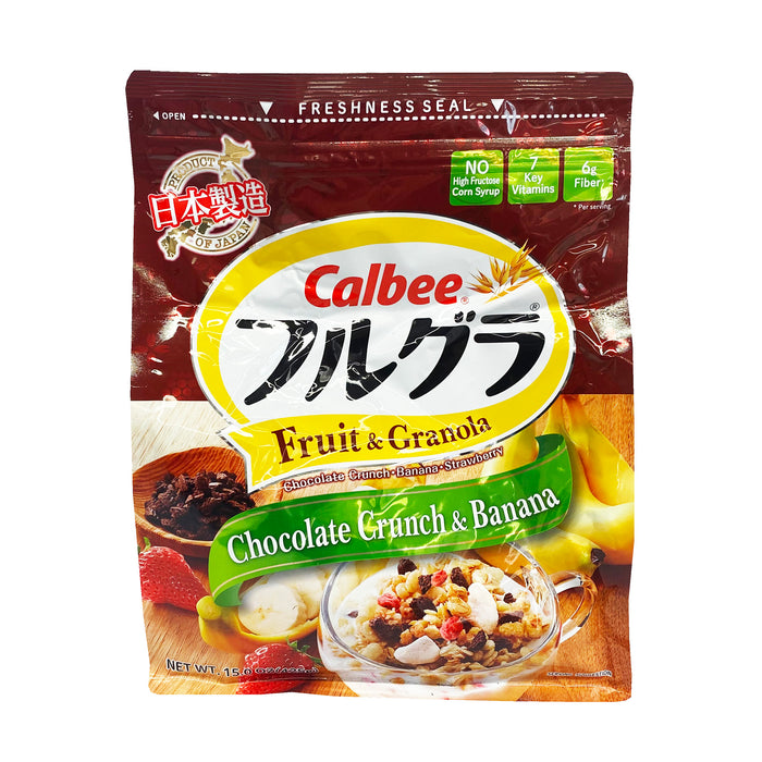 Package Calbee Fruit Granola Cereal - Chocolate Crunch & Banana Flavor 15oz Front