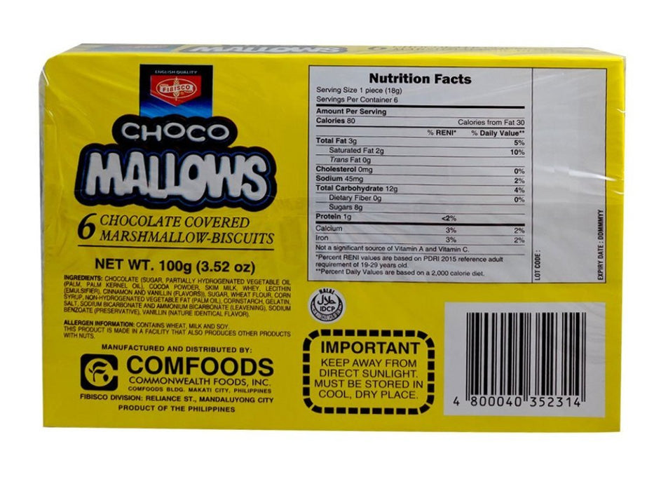 Fibisco Choco Mallows 3.52oz Back
