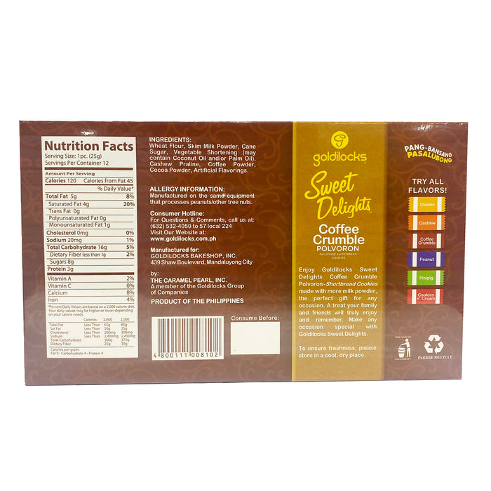 Package Goldilocks Sweet Delights Polvoron Coffee Crumble 10.6oz Back