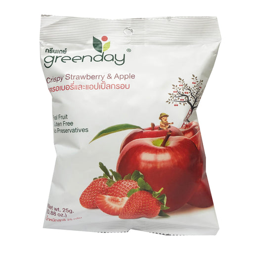Greenday Dried Apple and Strawberry Snack .88oz Front
