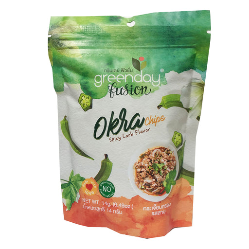 Greenday Okra Chips .49oz Front