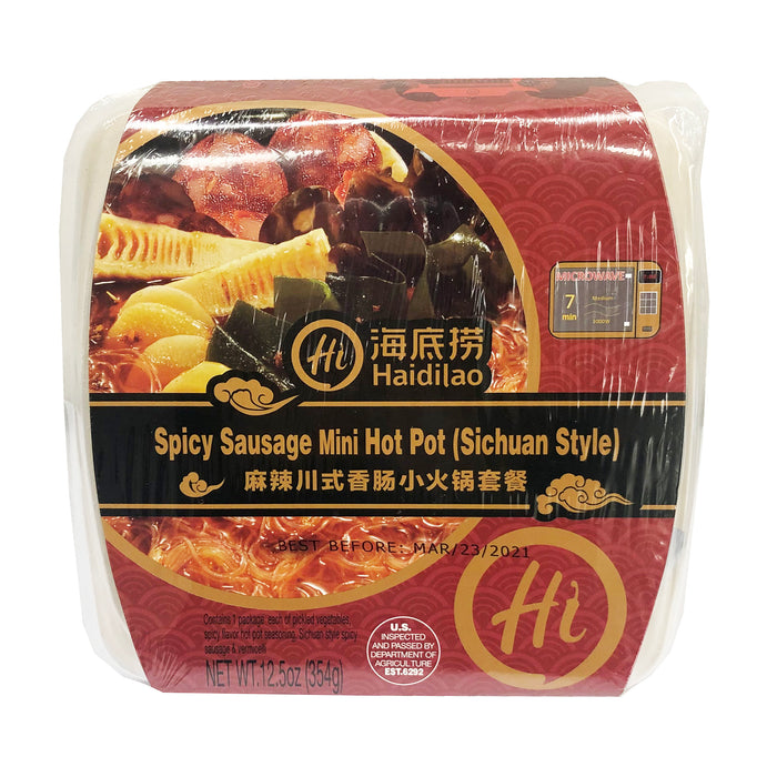 Package Hai Di Lao Mini Hot Pot Spicy Sausage Sichuan Style 12.5oz image 1