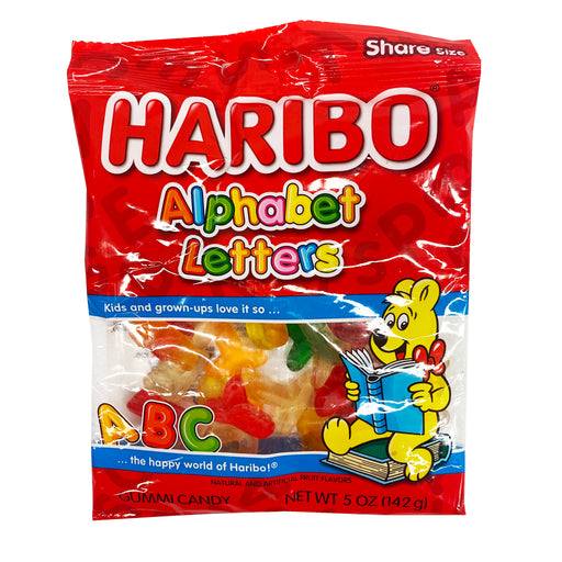Haribo Alphabet Letters Gummi Candy 5oz Front