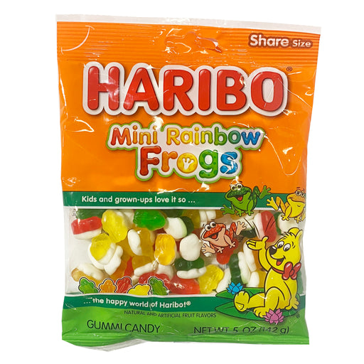 Package Haribo Mini Rainbow Frog Gummi Candy 5oz Front