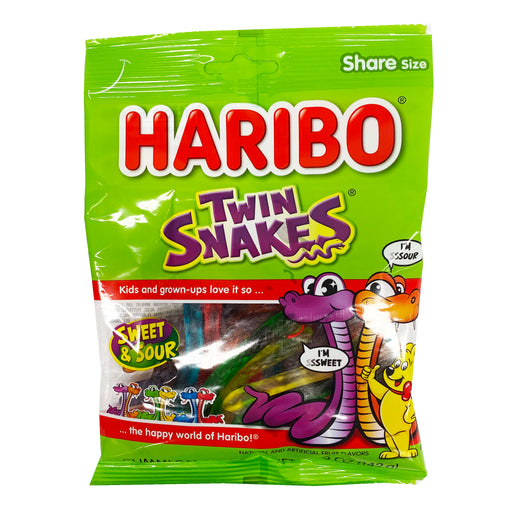 Haribo Twin Snakes Gummi Candy 5oz Front