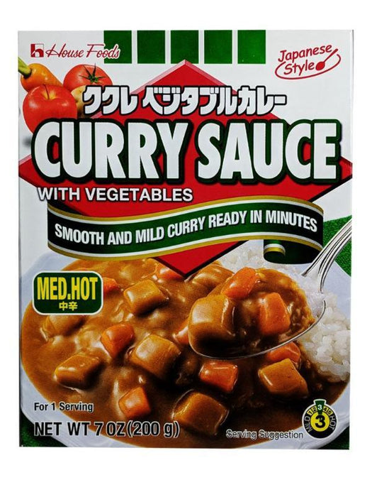 House Foods Curry Sauce With Vegetables - Medium Hot Flavor 7oz Front