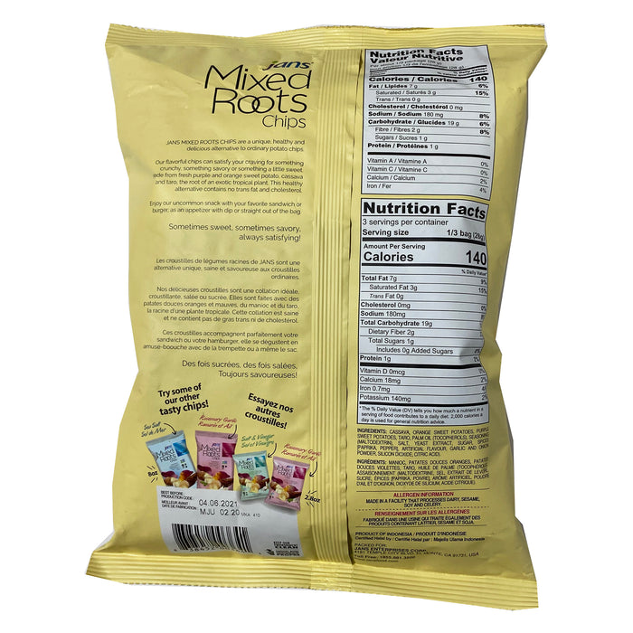 Package Jans Mixed Roots Chips Coriander Sea Salt 2.8oz Back