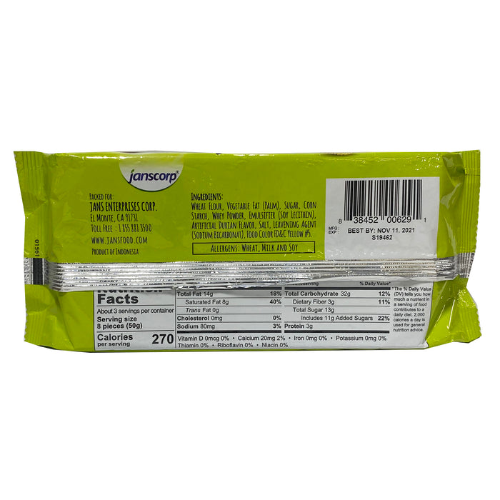 Jans Wafer Durian Flavor 5.29oz Back