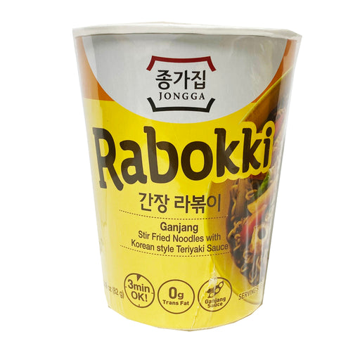 Package Jongga Rabokki Ganjang Stir Fry Noodles With Korean Style Teriyaki Sauce 2.89oz Front