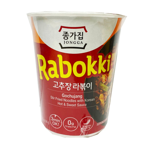Jongga Rabokki Gochujang Stir Fry Noodles With Korean Hot And Sour Sauce 2.89oz Front