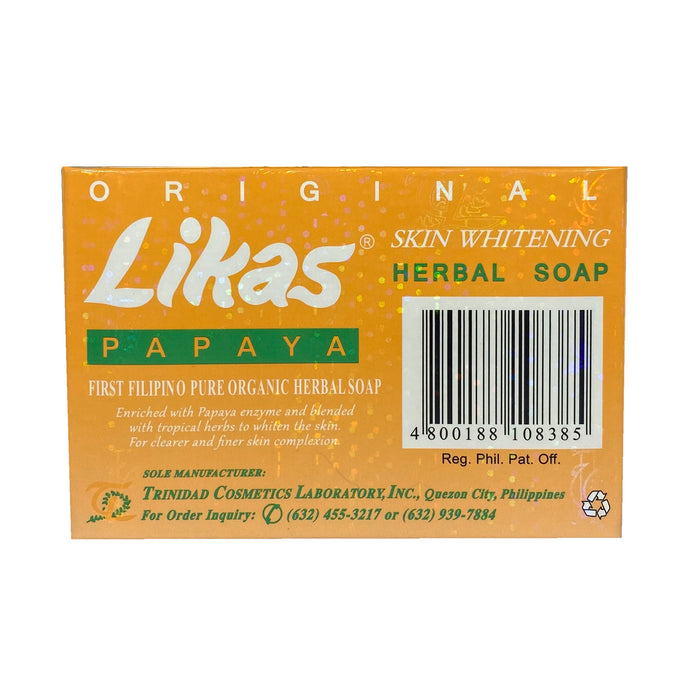 Likas Papaya Skin Whitening Soap 4.76oz Back