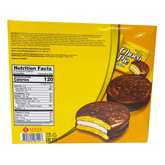 Lotte Choco Pie - Banana Flavor 11.85oz Back