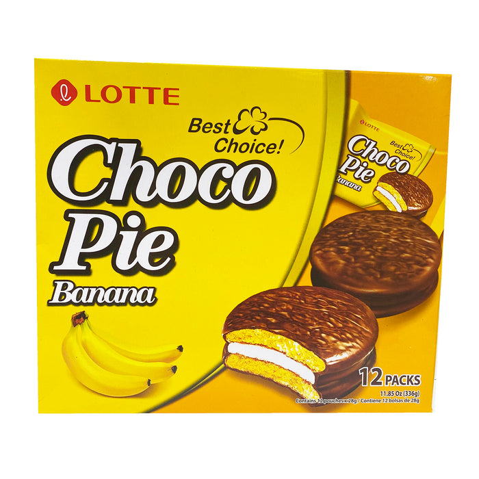 Lotte Choco Pie - Banana Flavor 11.85oz Front