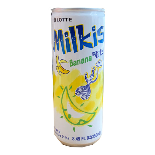 Package Lotte Milkis Drink Can Banana Flavor 8.45oz Front