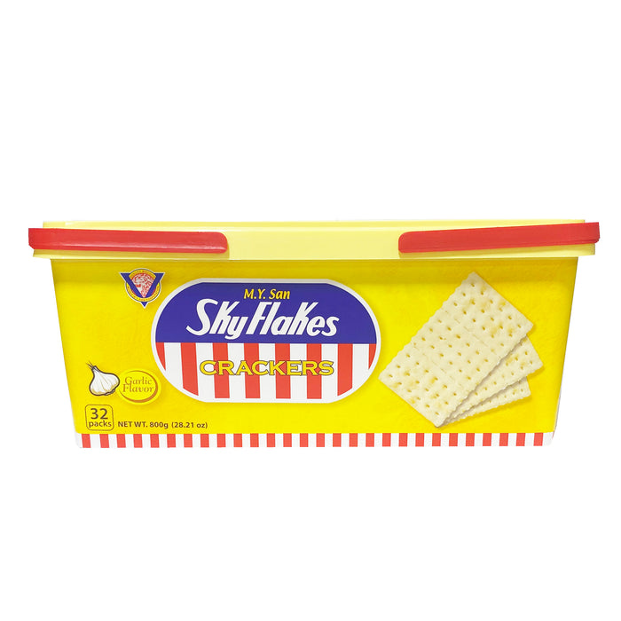 MY San SkyFlakes Crackers Garlic Flavor - Can 29.98oz Image 2