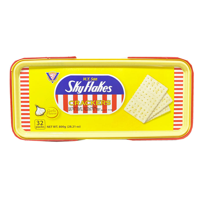 MY San SkyFlakes Crackers Garlic Flavor - Can 29.98oz Image 1
