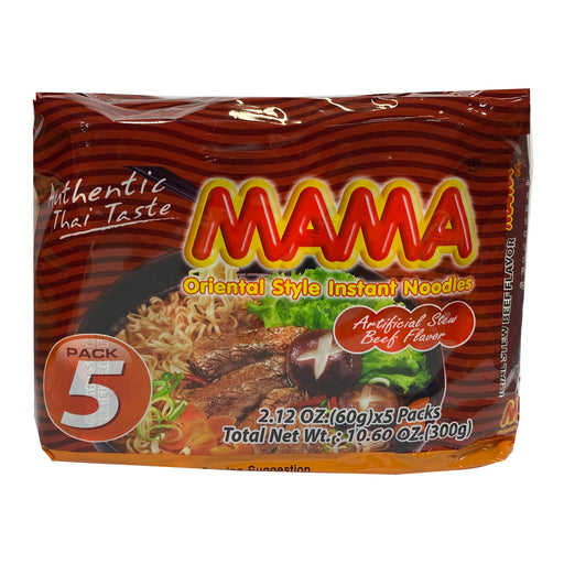 Mama Instant Noodle (5 Pack) - Beef Flavor 9.7oz Front