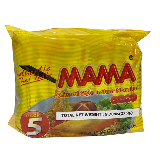 Mama Instant Noodle (5 Pack) - Chicken Flavor 9.7oz Front
