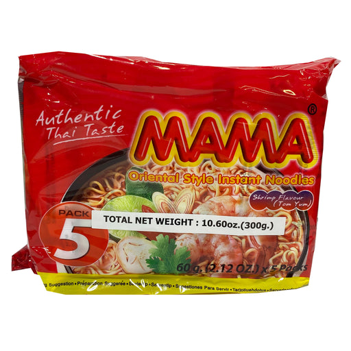 Package Mama Instant Noodle (5 Pack) - Shrimp Tom Yum Flavor 9.7oz Front