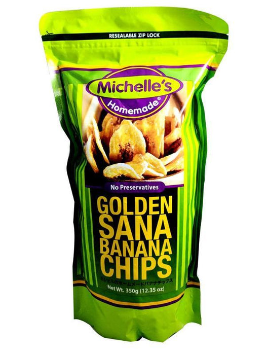 Package Michelle's Golden Sana Banana Chips 12.35oz Front