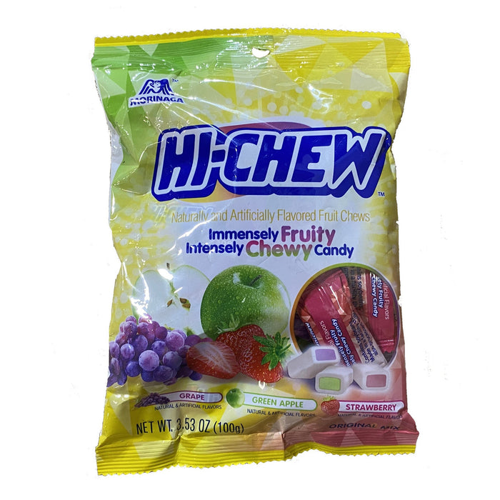 Morinaga Hi-Chew Chewy Candy Original Mix - Grape, Green Apple, Strawberry Flavor 3.53 oz
