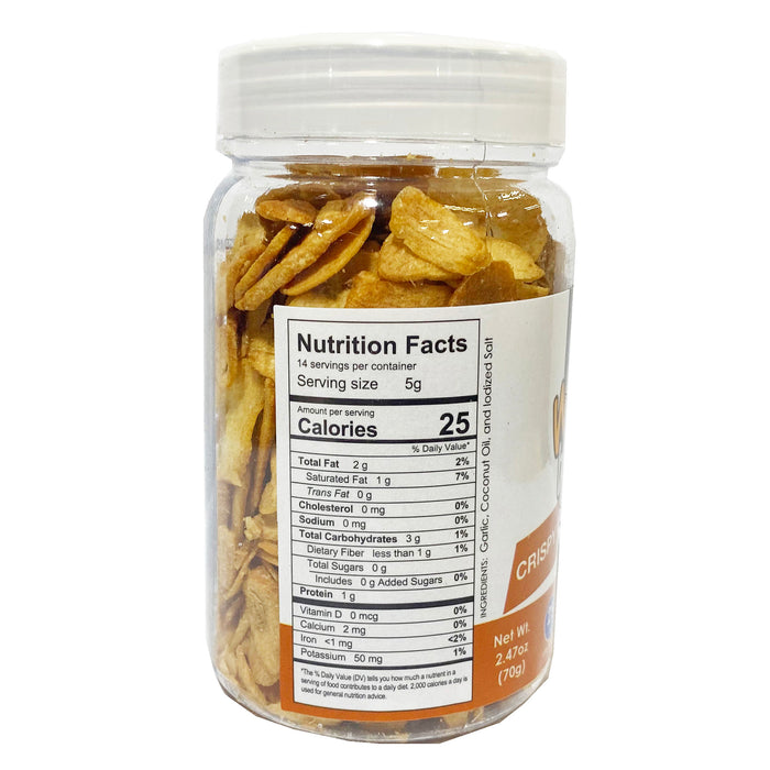 Nut n Else Crispy Garlic Chips 2.47oz Back