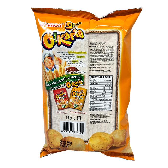 Orion O Karto Poptato Sticks Cream Cheese Flavor 4.06oz Back