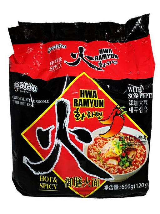 Paldo Hwa Ramyun Hot & Spicy Noodle Soup Family Pack 21.15oz Front