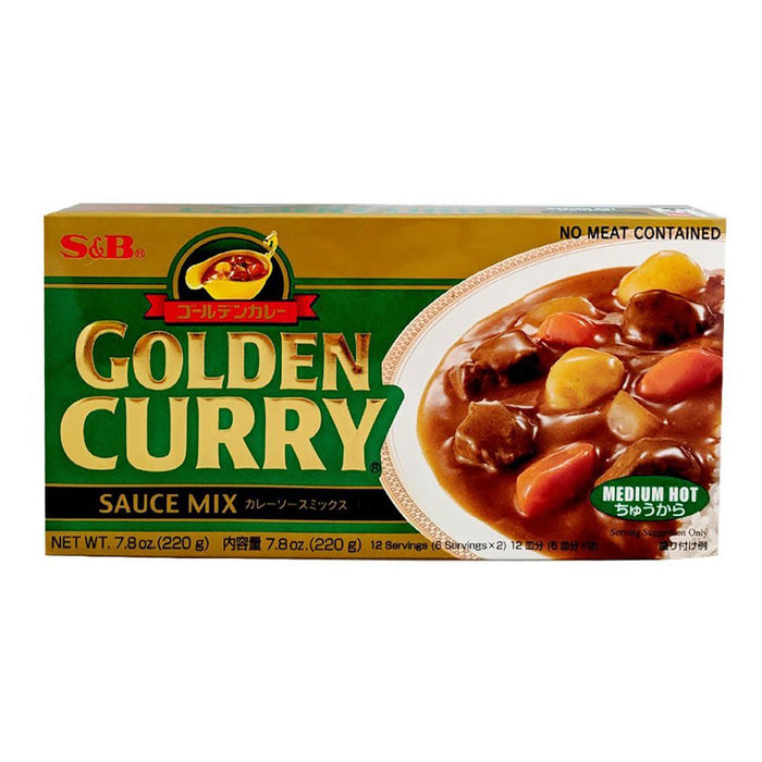 S&B Golden Curry Sauce Mix - Medium Hot 7.8oz Front
