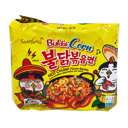 Samyang Hot Chicken Ramen - Buldak Corn Flavor 5 Pack 24.70oz Front