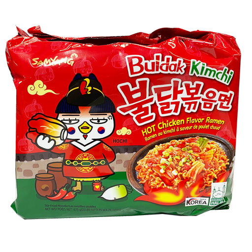 Package Samyang Hot Chicken Ramen - Buldak Kimchi Flavor 5 Pack 24.70oz Front