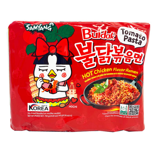 Package Samyang Hot Chicken Ramen - Buldak Tomato Pasta Flavor 5 Pack 24.70oz Front