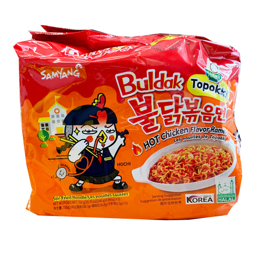 Package Samyang Hot Chicken Ramen - Buldak Topokki Flavor 5 Pack 24.70oz Front