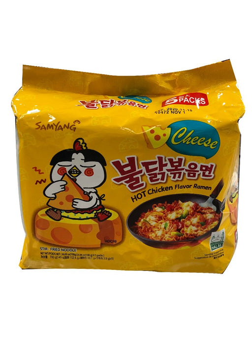 Samyang Hot Chicken Ramen - Cheese Flavor 5 Pack 24.7oz Front