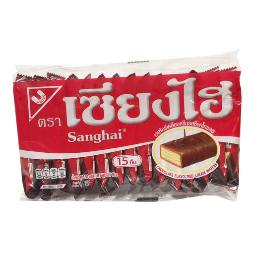 Sanghai Chocolate Cream Wafers 15 Pack Front