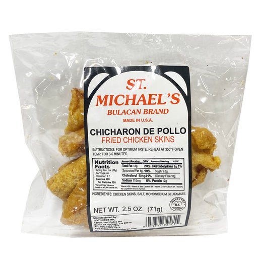 Package St. Michael's Chicharon Chicken Skin 2.5oz Front