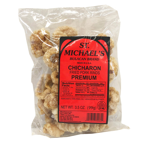 Package St. Michael's Chicharon Fried Pork Rinds Premium 3.5oz Front