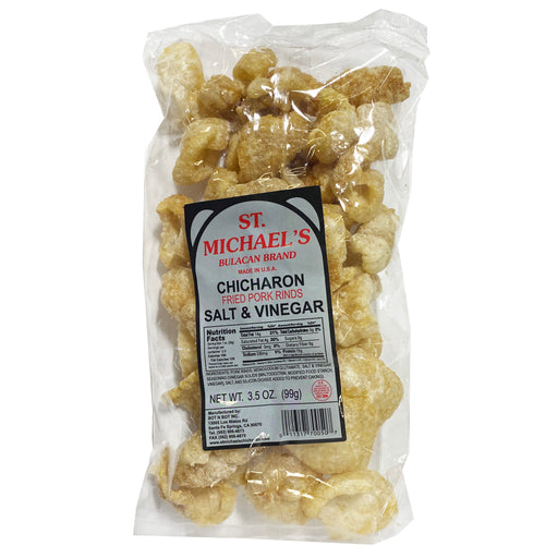 Package St. Michael's Chicharon Fried Pork Rinds Salt And Vinegar 3.5oz Front