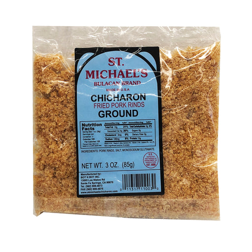 Package St. Michael's Fried Pork Rinds Ground Chicharon 3oz Front