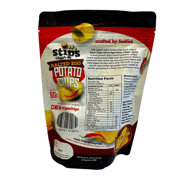 Stips Salted Egg Potato Chips - Spicy 2.11oz Back
