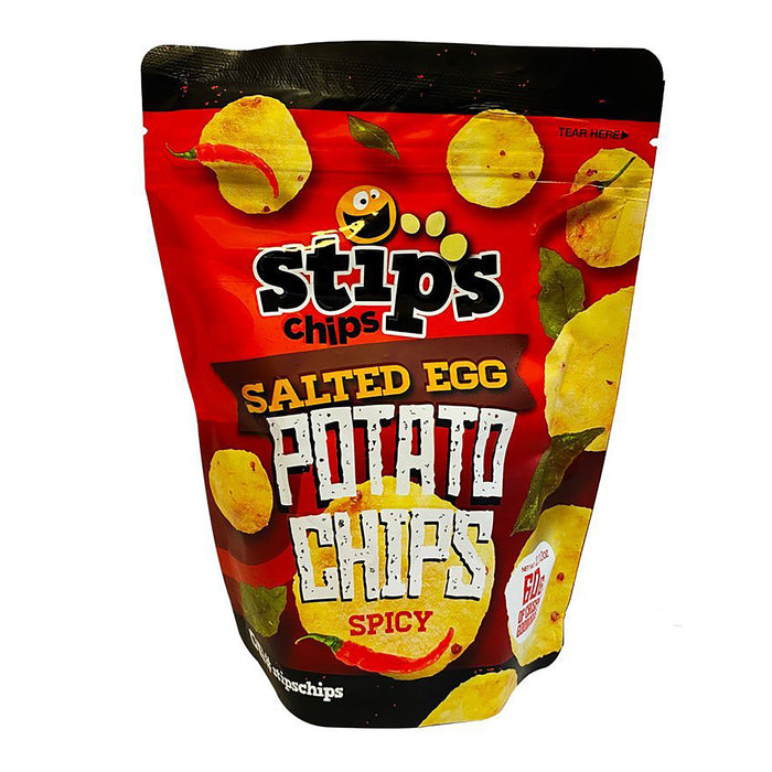 Stips Salted Egg Potato Chips - Spicy 2.11oz Front