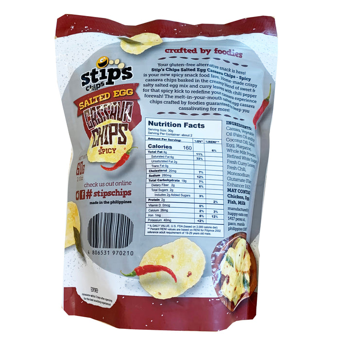 Stips Salted Egg Cassava Chips - Spicy 2.12oz