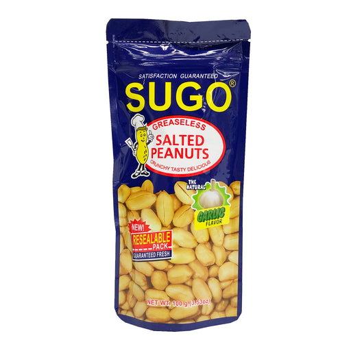 Package Sugo Salted Peanuts Garlic Flavor 3.53oz Front