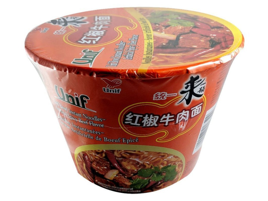 Unif Bowl Instant Noodles - Spicy Beef Flavor 3.88oz Front