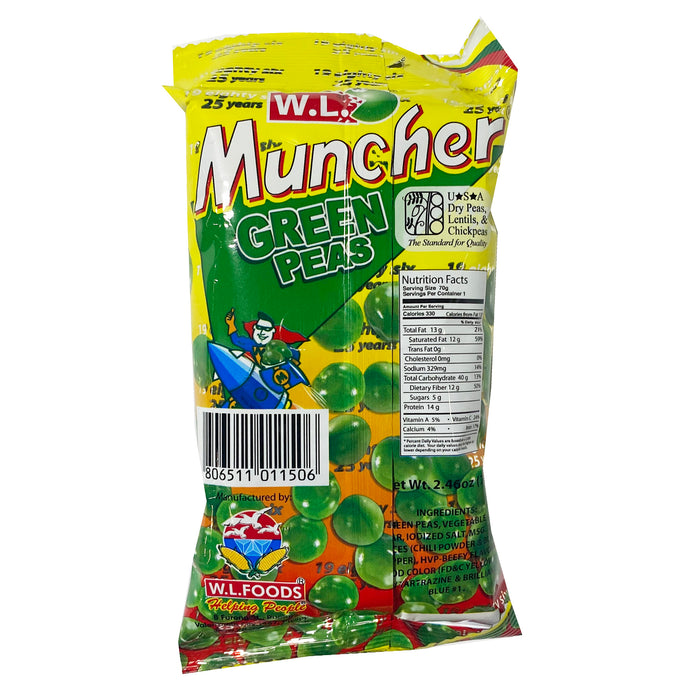 Package W.L. Muncher Green Peas 2.46oz Back