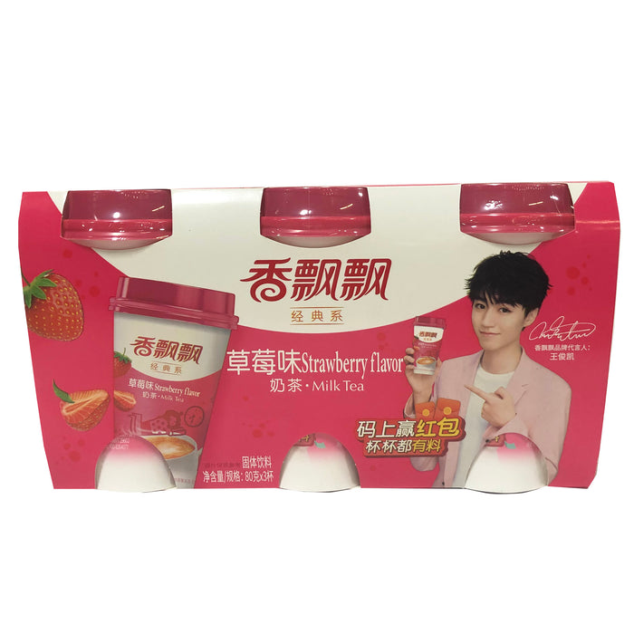 Xiang Piao Piao Milk Tea Strawberry 3cups 2.82oz Image 1