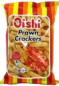 Oishi Prawn Crackers Original Flavor 2.12oz Front