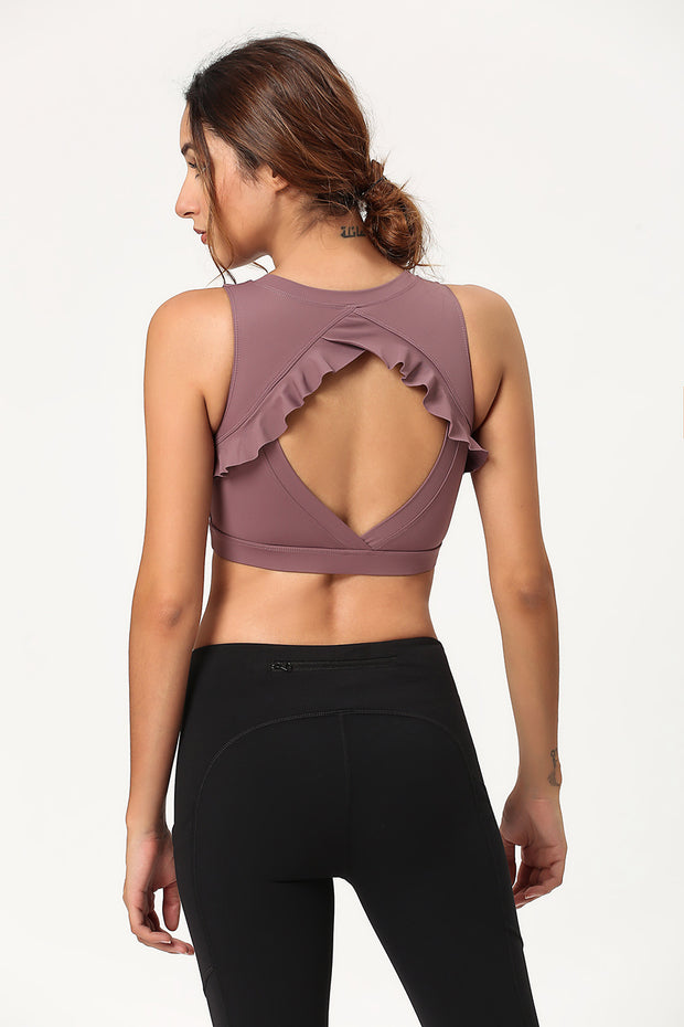 Ruffled Cross Back Crop Top